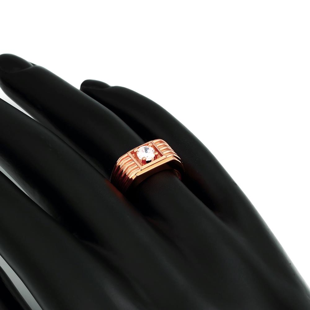 Wholesale Classic Rose Gold Geometric White CZ Ring TGGPR1489 3