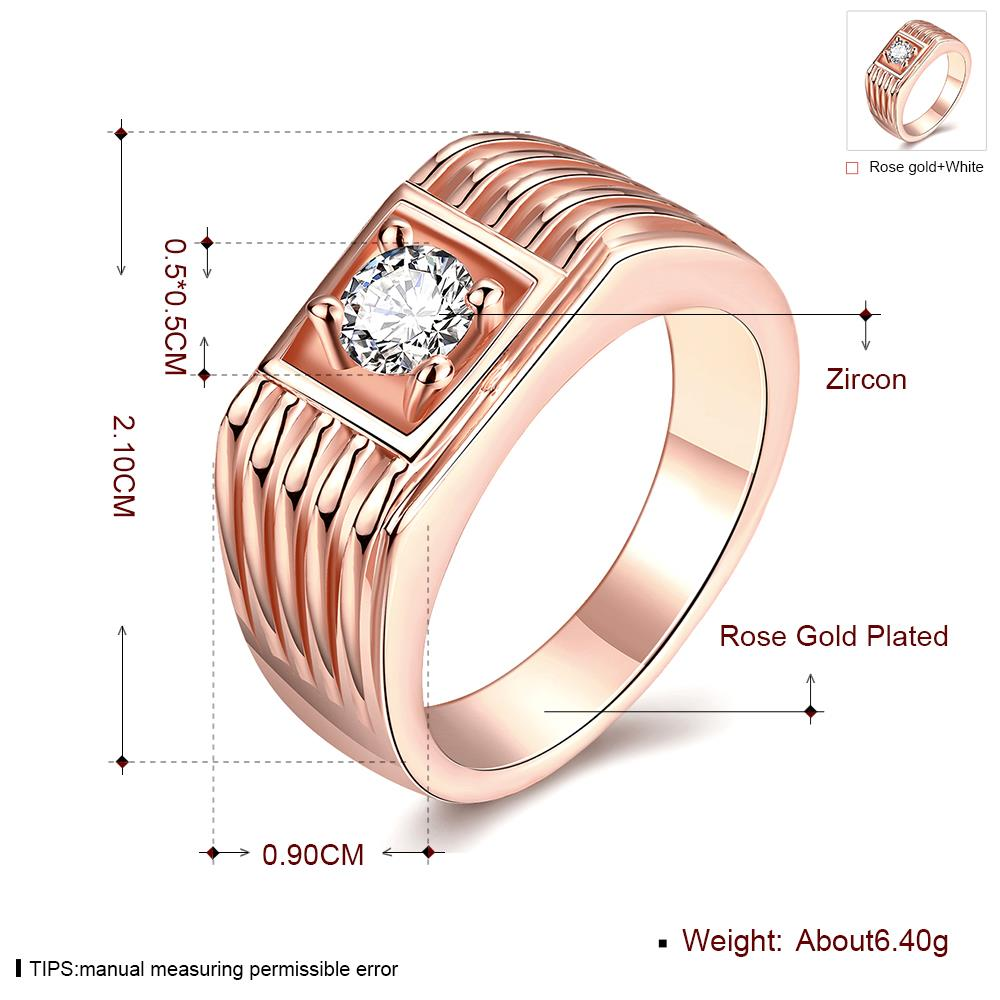 Wholesale Classic Rose Gold Geometric White CZ Ring TGGPR1489 4