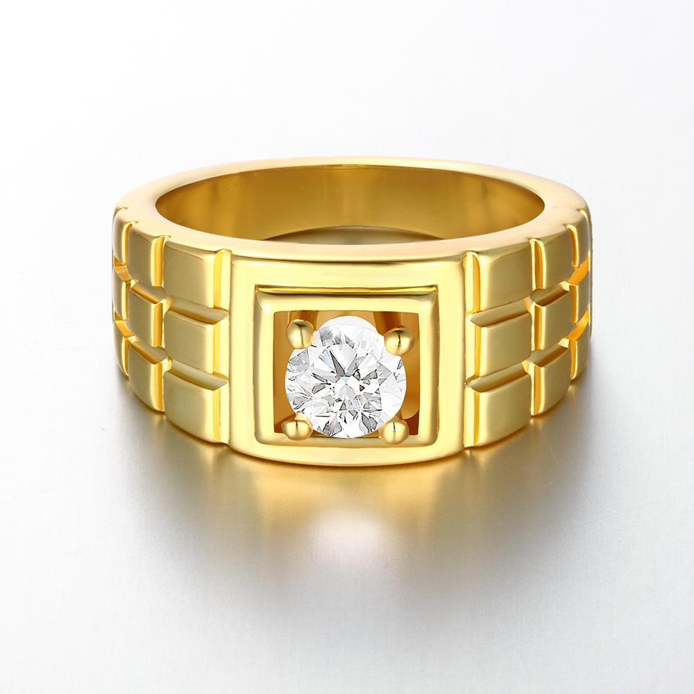 Wholesale Classic 24K Gold Geometric White CZ Ring TGGPR1502 1