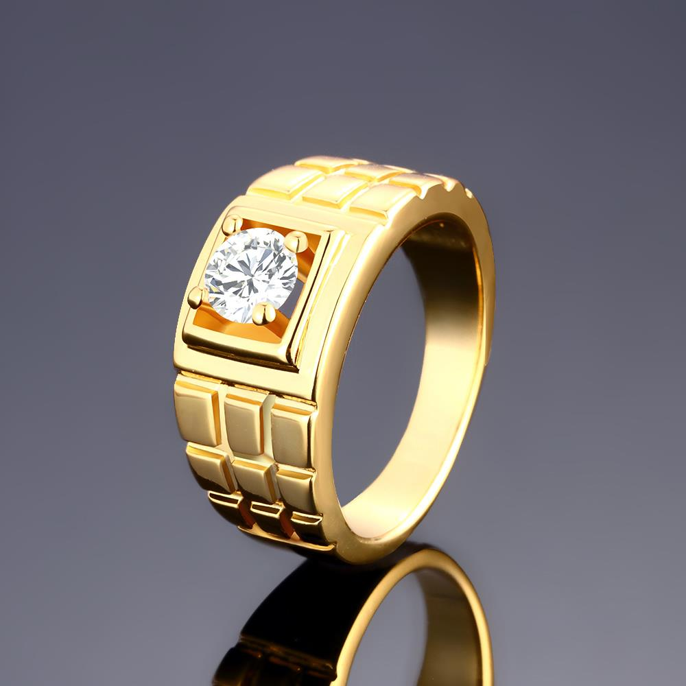 Wholesale Classic 24K Gold Geometric White CZ Ring TGGPR1502 2