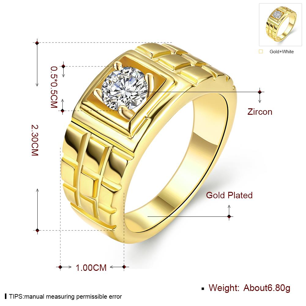 Wholesale Classic 24K Gold Geometric White CZ Ring TGGPR1502 4