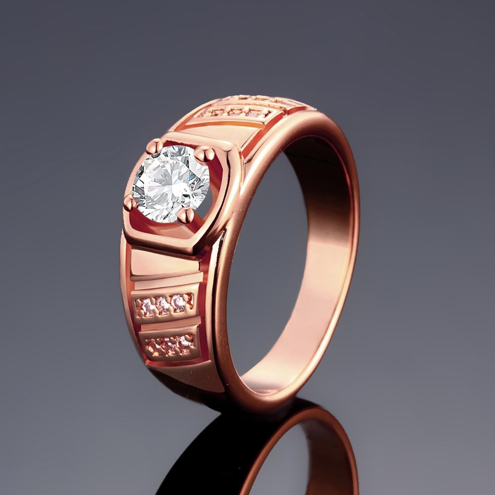 Wholesale Classic Rose Gold Geometric White CZ Ring TGGPR208 0