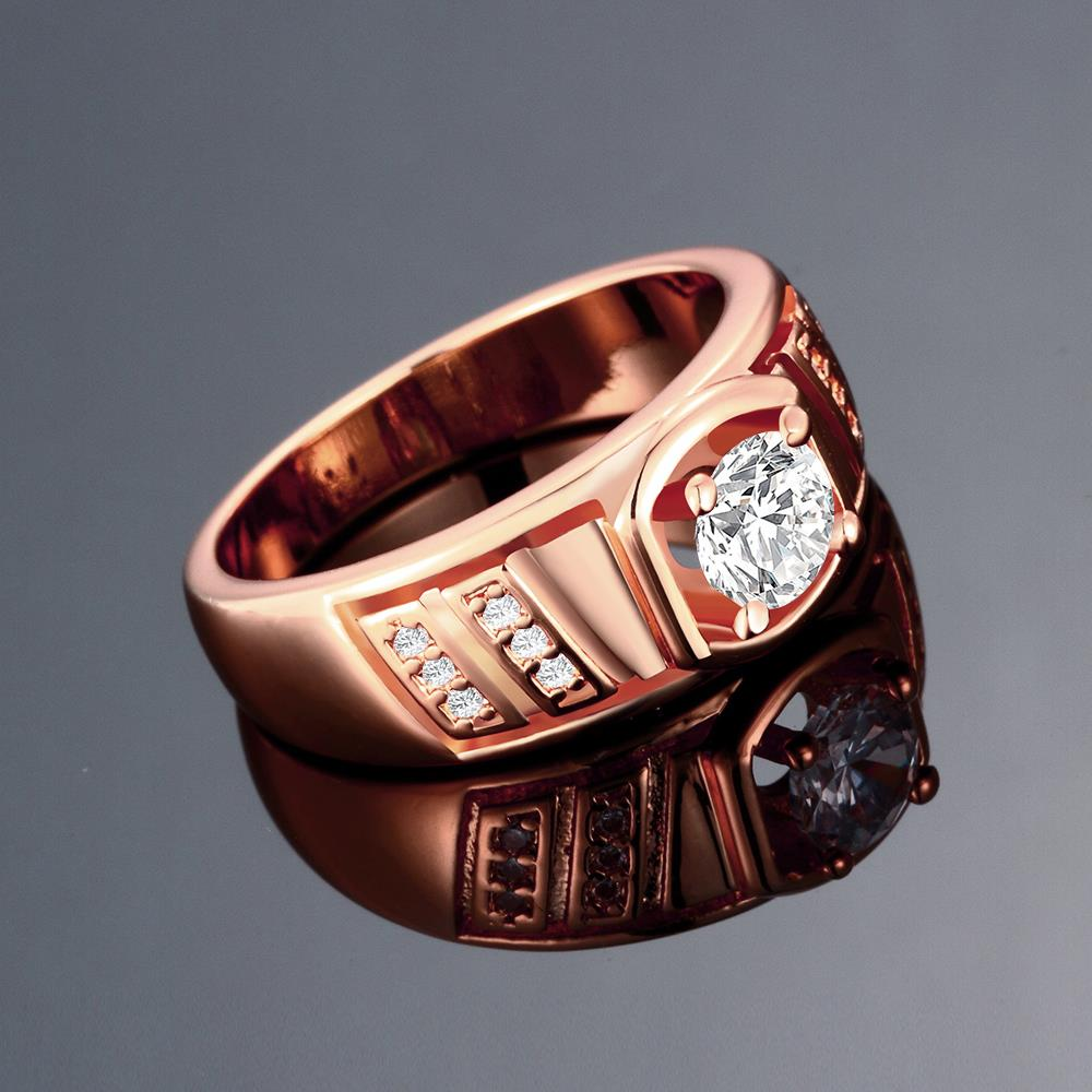Wholesale Classic Rose Gold Geometric White CZ Ring TGGPR208 1