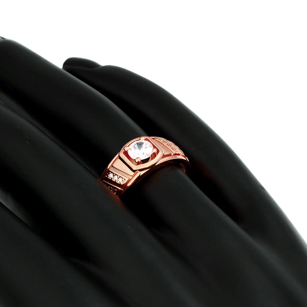 Wholesale Classic Rose Gold Geometric White CZ Ring TGGPR208 2