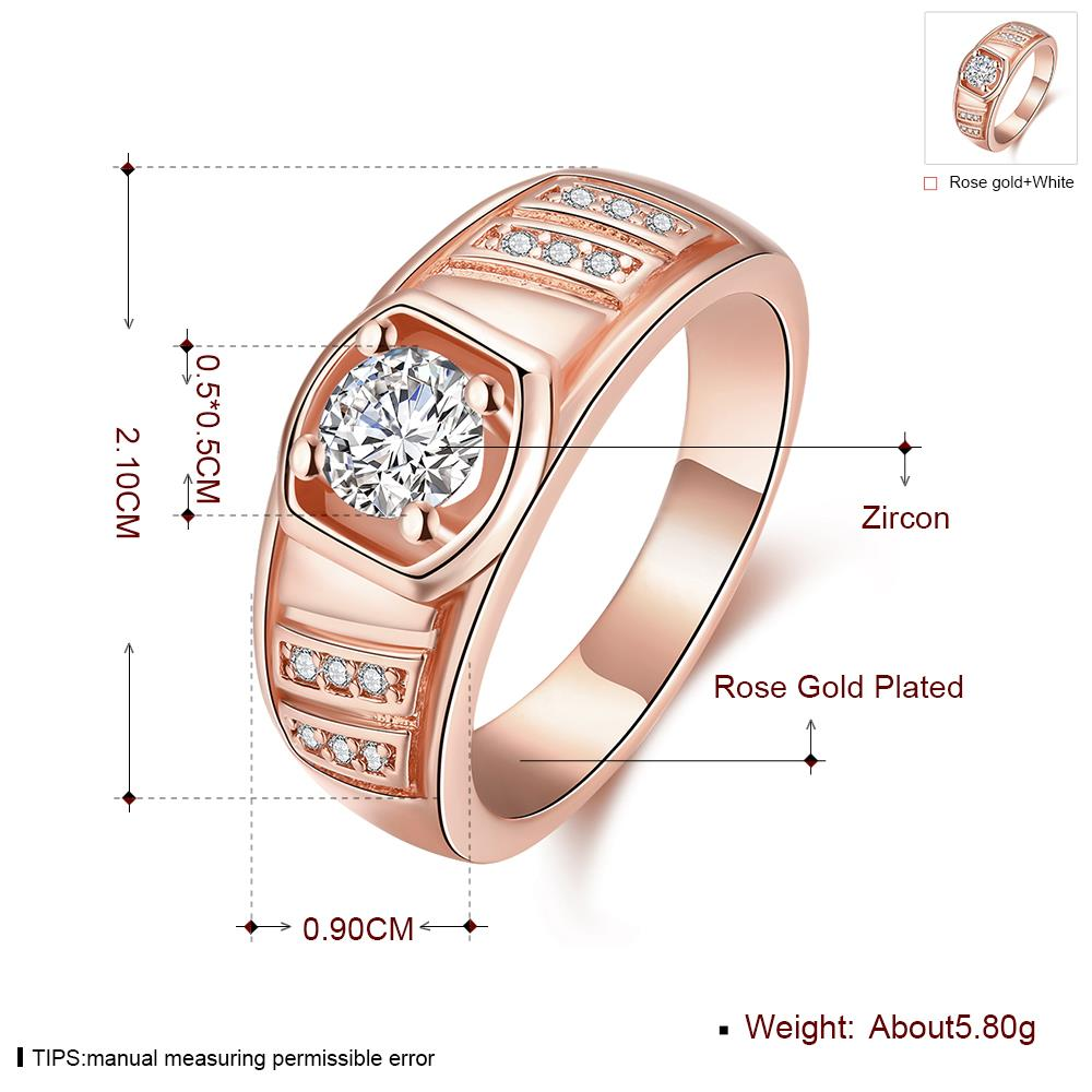 Wholesale Classic Rose Gold Geometric White CZ Ring TGGPR208 3