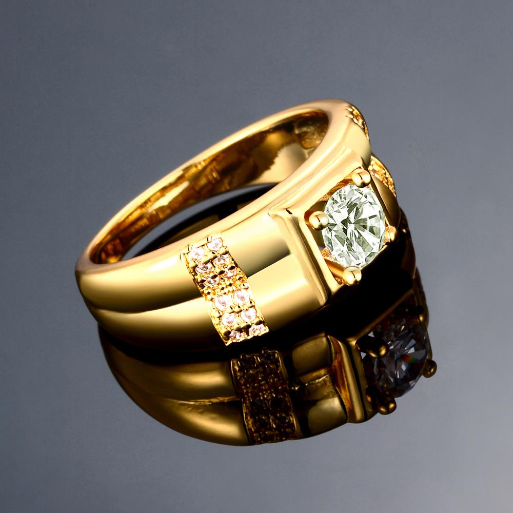 Wholesale Trendy 24K Gold Geometric White CZ Ring TGGPR243 0