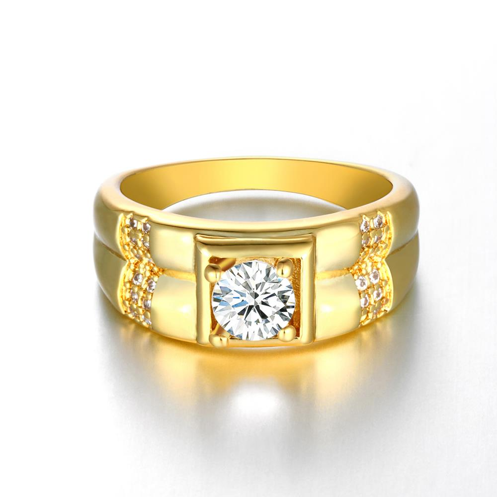 Wholesale Trendy 24K Gold Geometric White CZ Ring TGGPR243 1