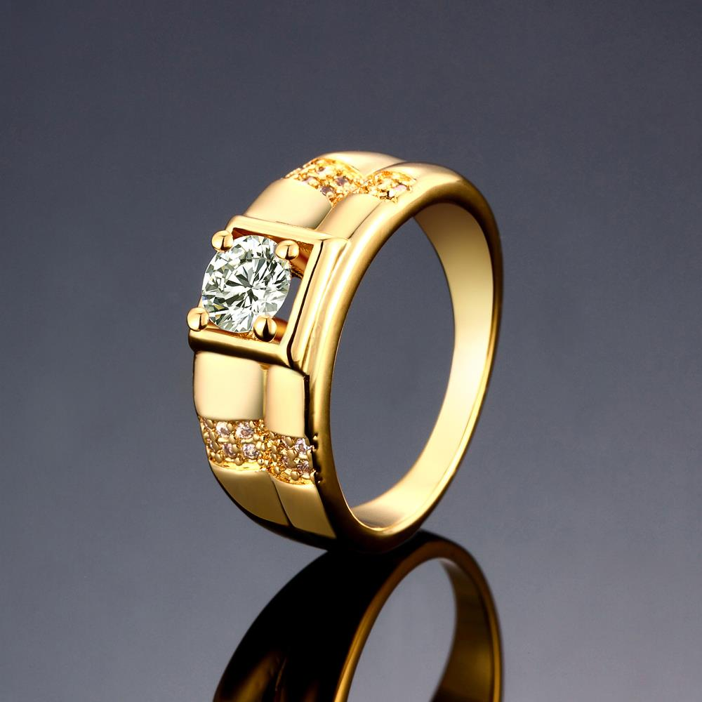 Wholesale Trendy 24K Gold Geometric White CZ Ring TGGPR243 2