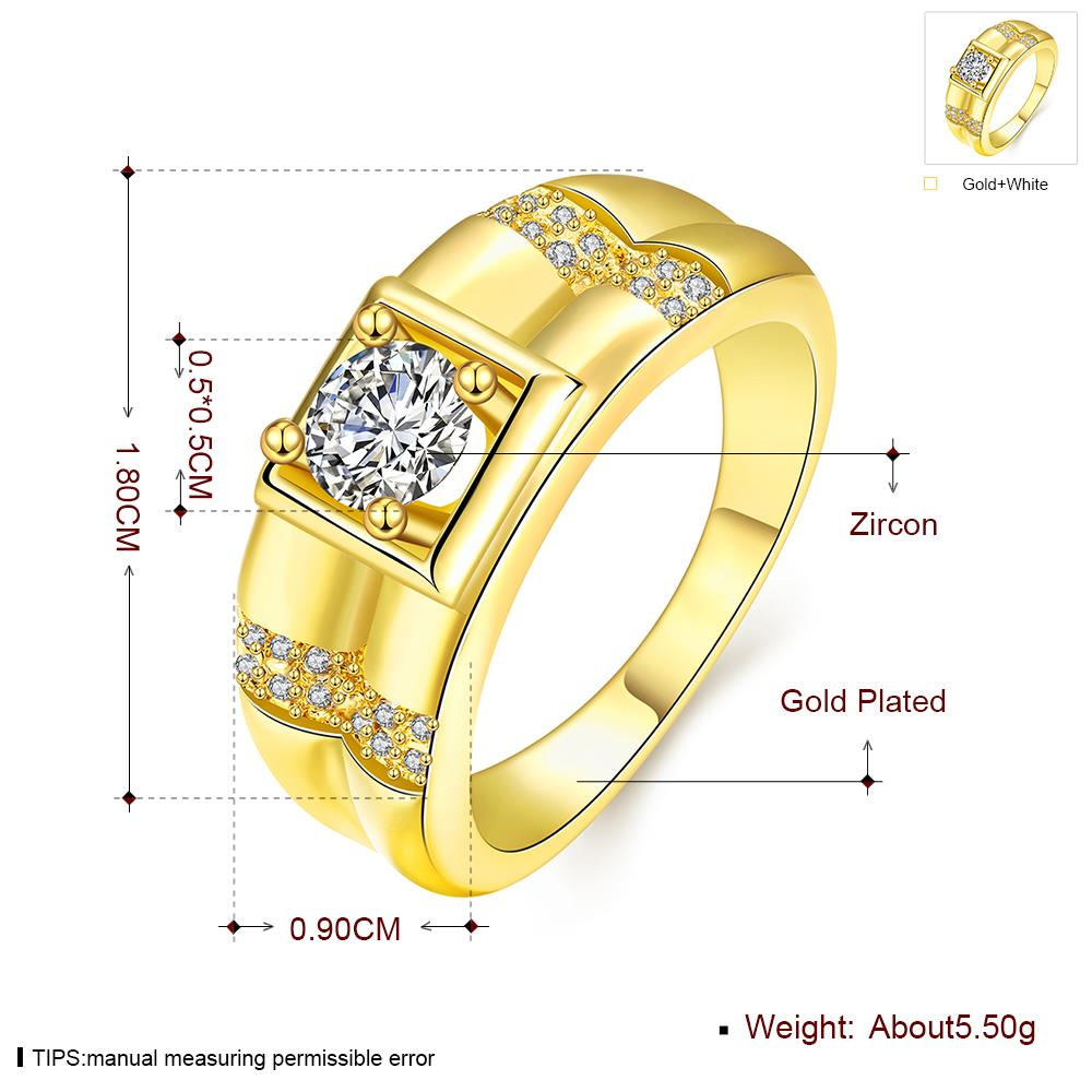 Wholesale Trendy 24K Gold Geometric White CZ Ring TGGPR243 4