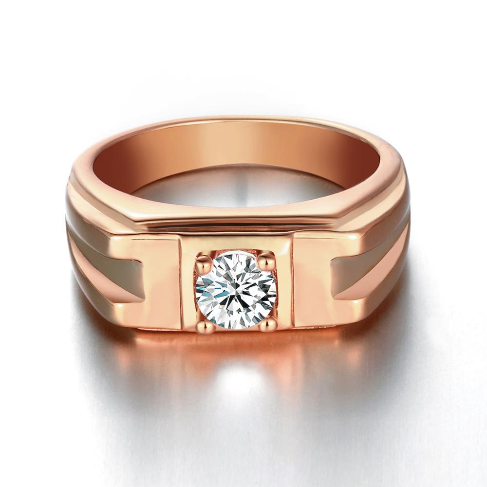Wholesale Classic Rose Gold Geometric White CZ Ring TGGPR270 0