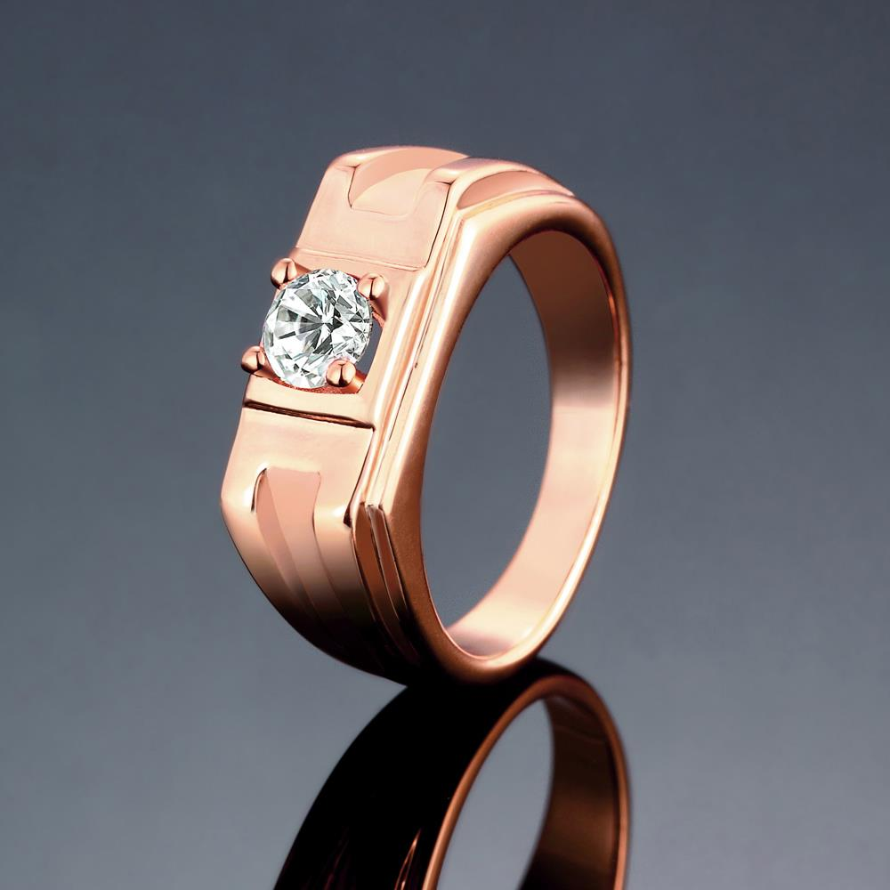 Wholesale Classic Rose Gold Geometric White CZ Ring TGGPR270 1