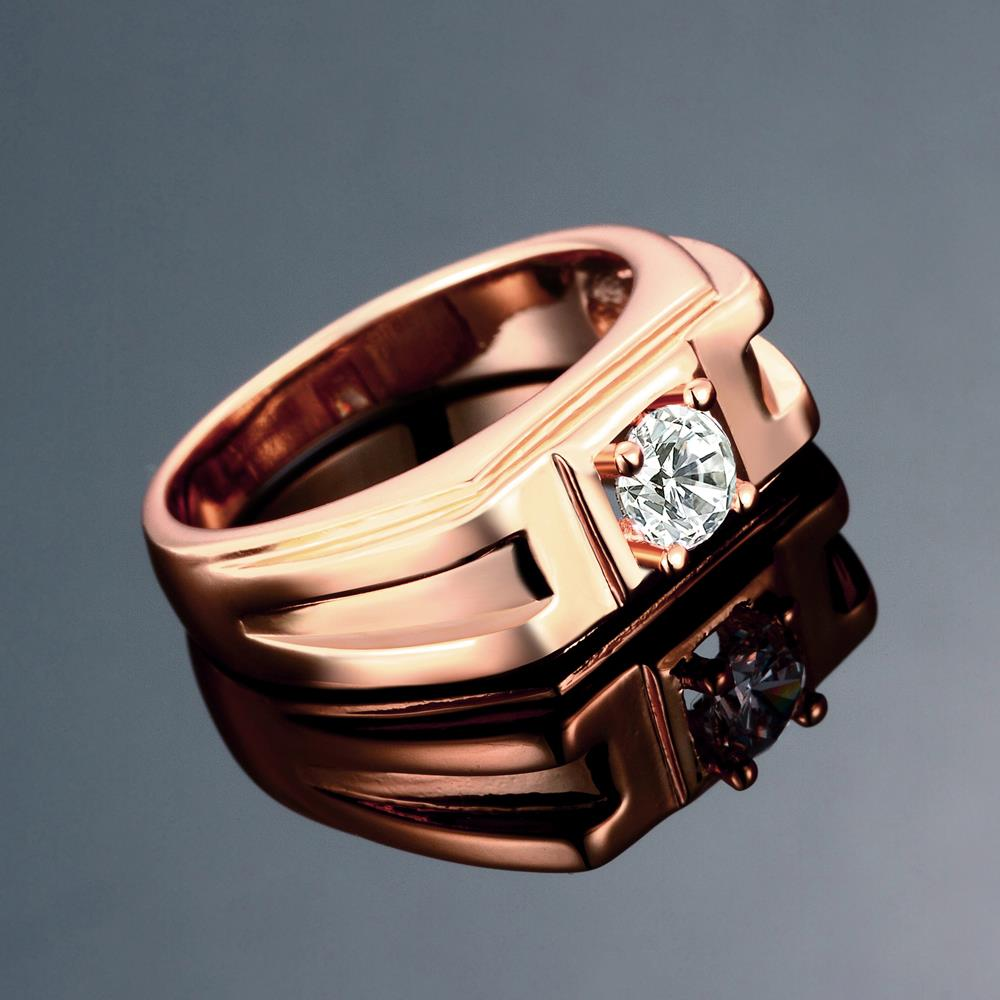 Wholesale Classic Rose Gold Geometric White CZ Ring TGGPR270 2