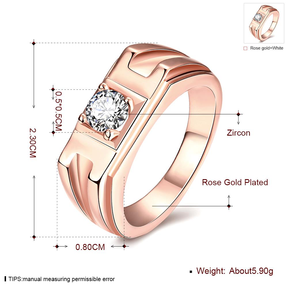 Wholesale Classic Rose Gold Geometric White CZ Ring TGGPR270 4