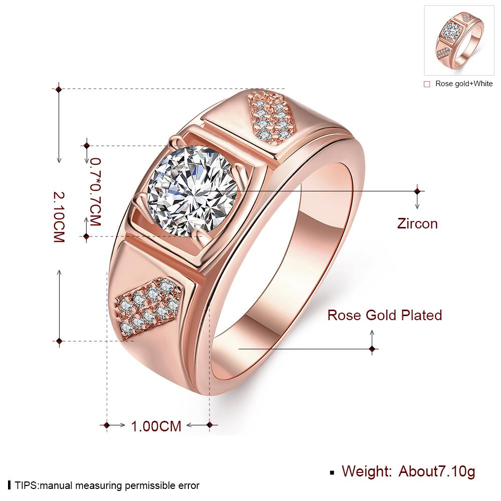 Wholesale Classic Rose Gold Geometric White CZ Ring TGGPR312 0