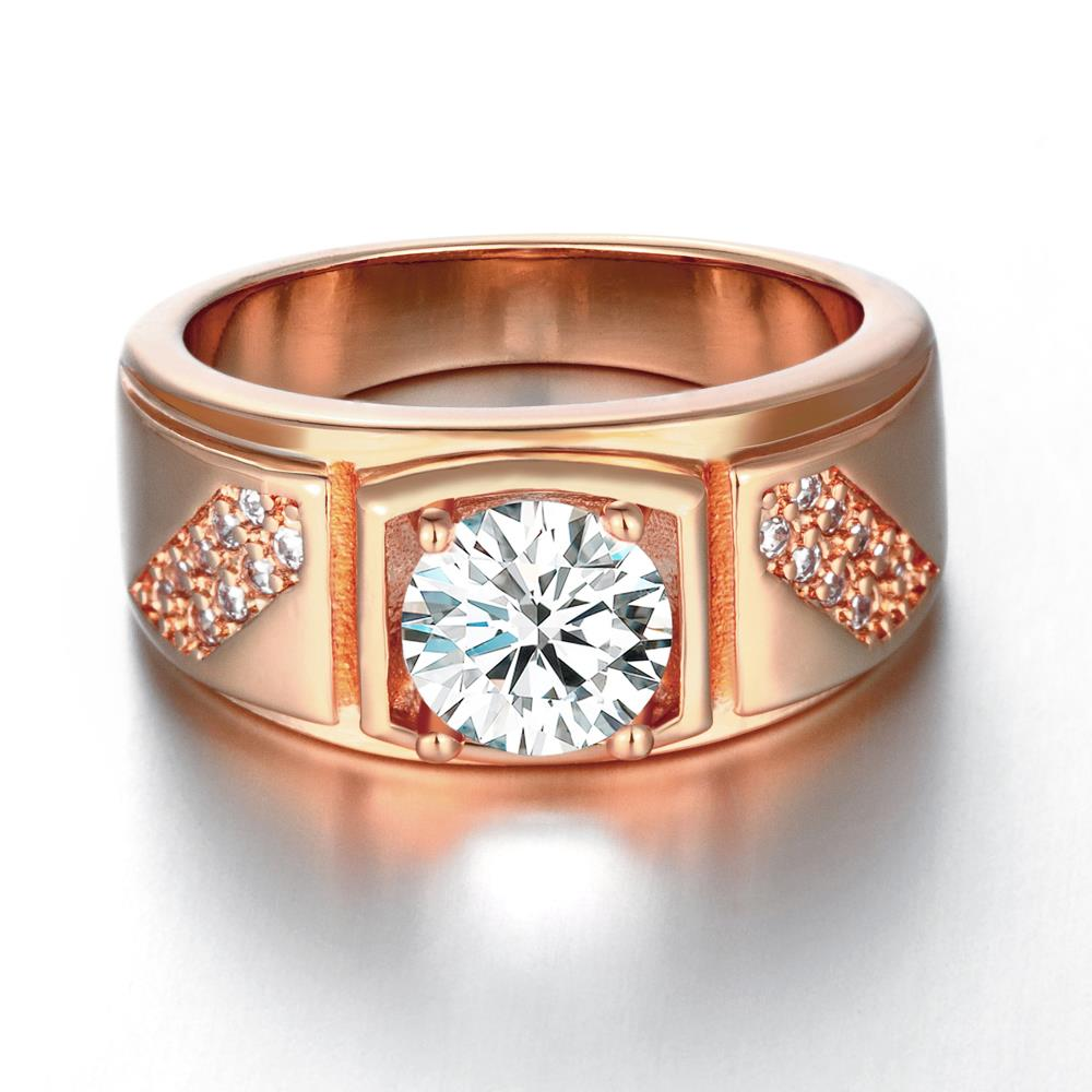 Wholesale Classic Rose Gold Geometric White CZ Ring TGGPR312 1