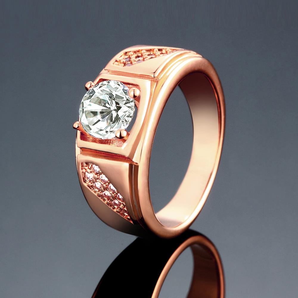 Wholesale Classic Rose Gold Geometric White CZ Ring TGGPR312 2