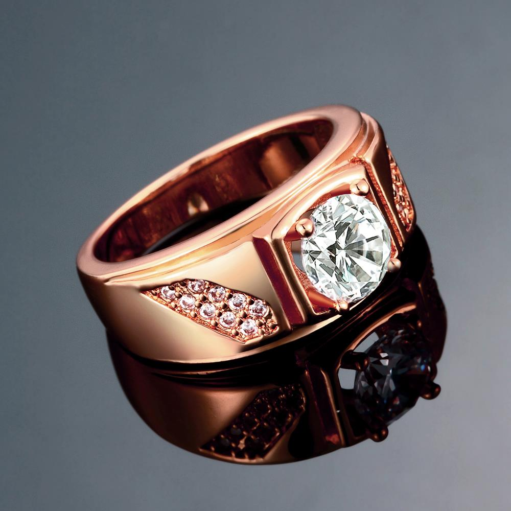 Wholesale Classic Rose Gold Geometric White CZ Ring TGGPR312 3