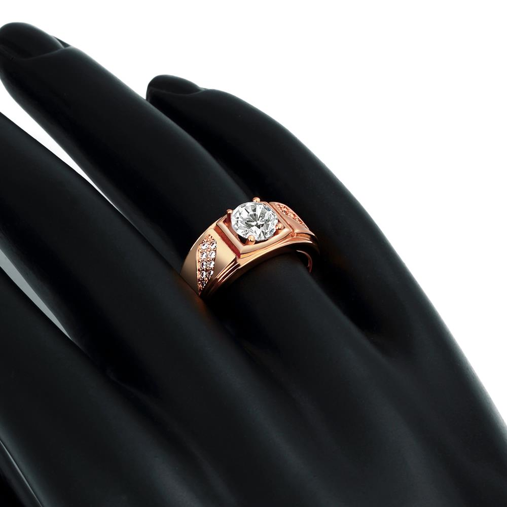 Wholesale Classic Rose Gold Geometric White CZ Ring TGGPR312 4