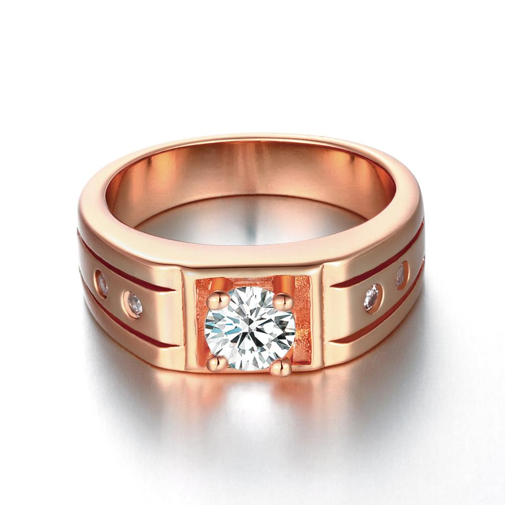 Wholesale Classic Rose Gold Geometric White CZ Ring TGGPR334 0