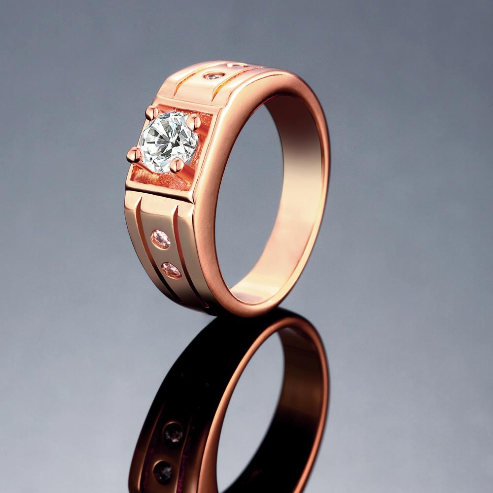 Wholesale Classic Rose Gold Geometric White CZ Ring TGGPR334 1