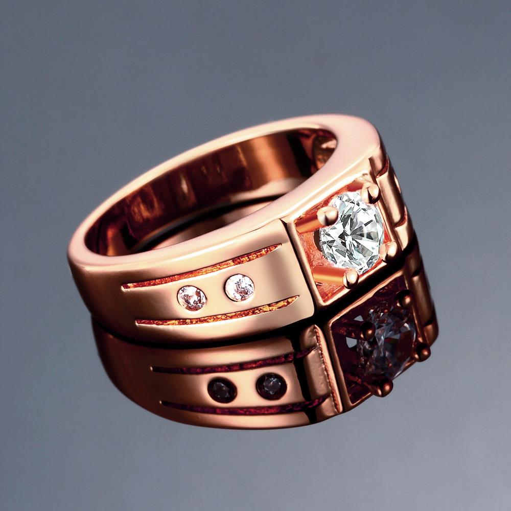 Wholesale Classic Rose Gold Geometric White CZ Ring TGGPR334 2