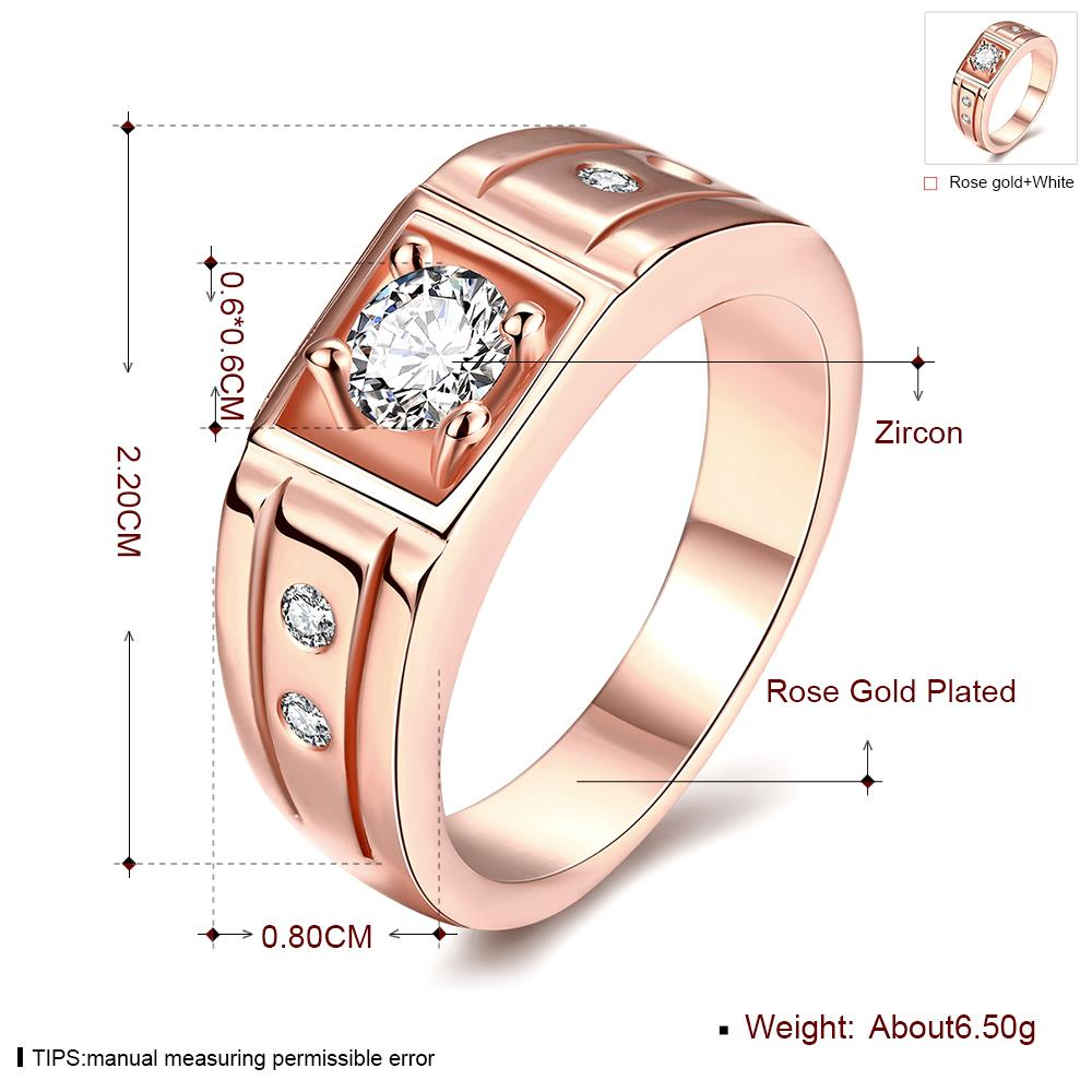 Wholesale Classic Rose Gold Geometric White CZ Ring TGGPR334 4