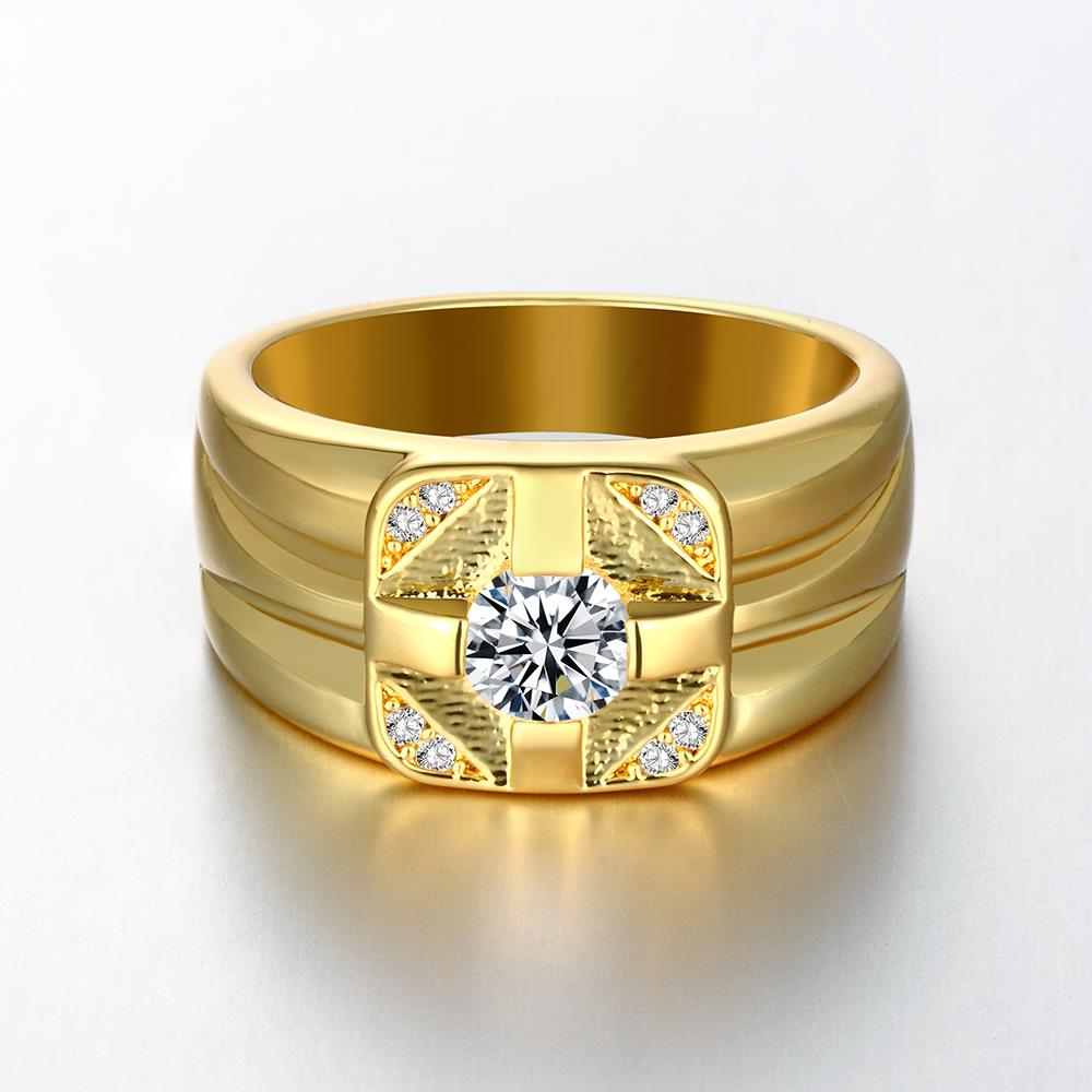 Wholesale Classic 24K Gold Geometric White CZ Ring TGGPR423 0