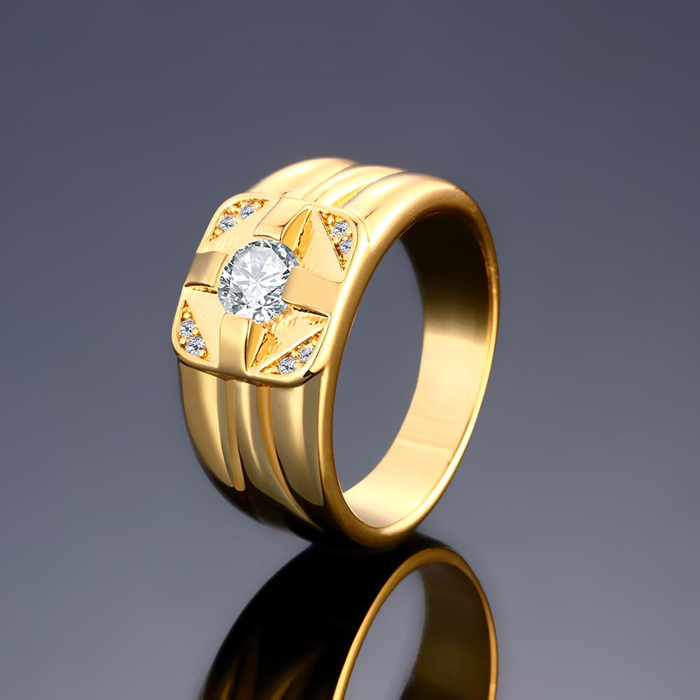 Wholesale Classic 24K Gold Geometric White CZ Ring TGGPR423 1