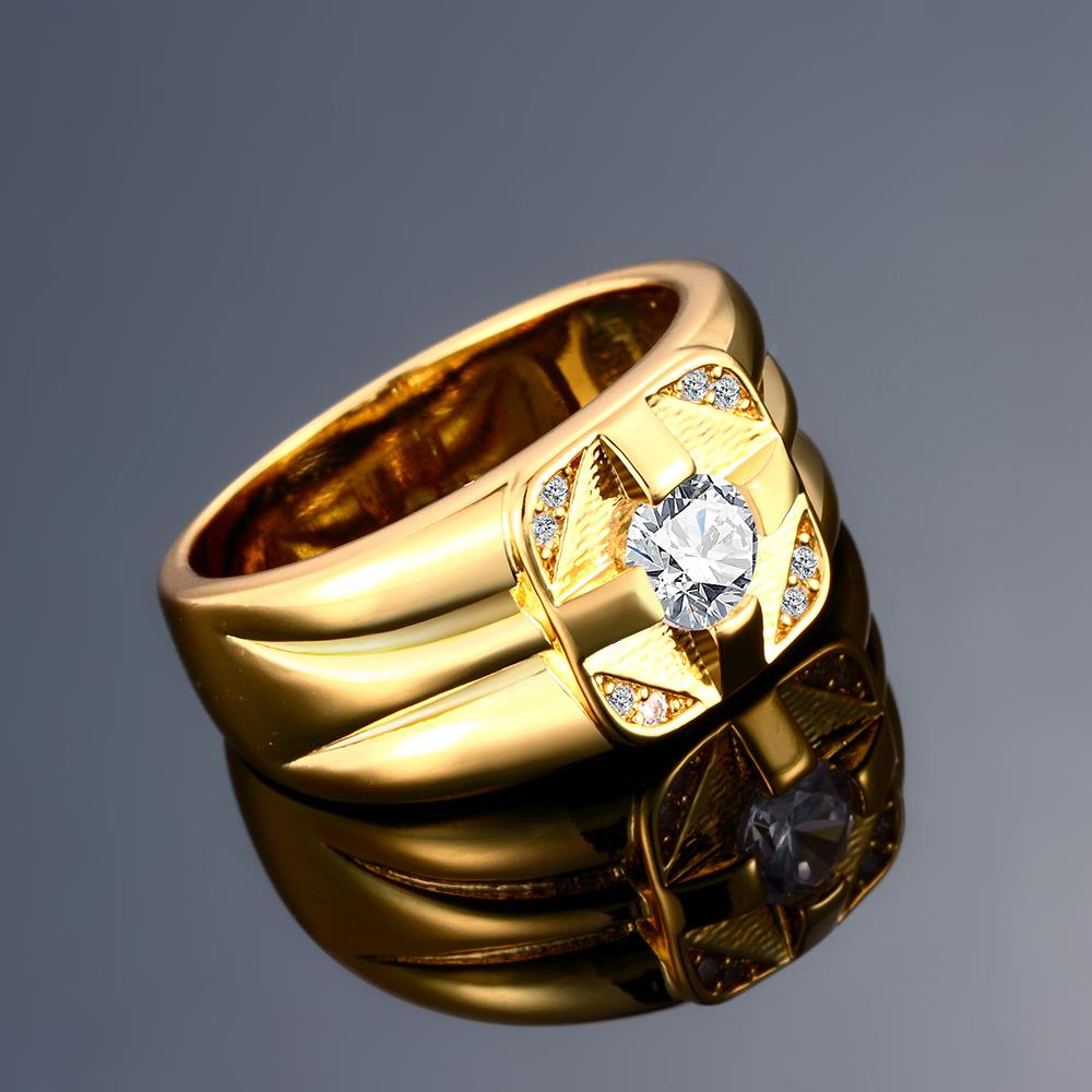 Wholesale Classic 24K Gold Geometric White CZ Ring TGGPR423 2
