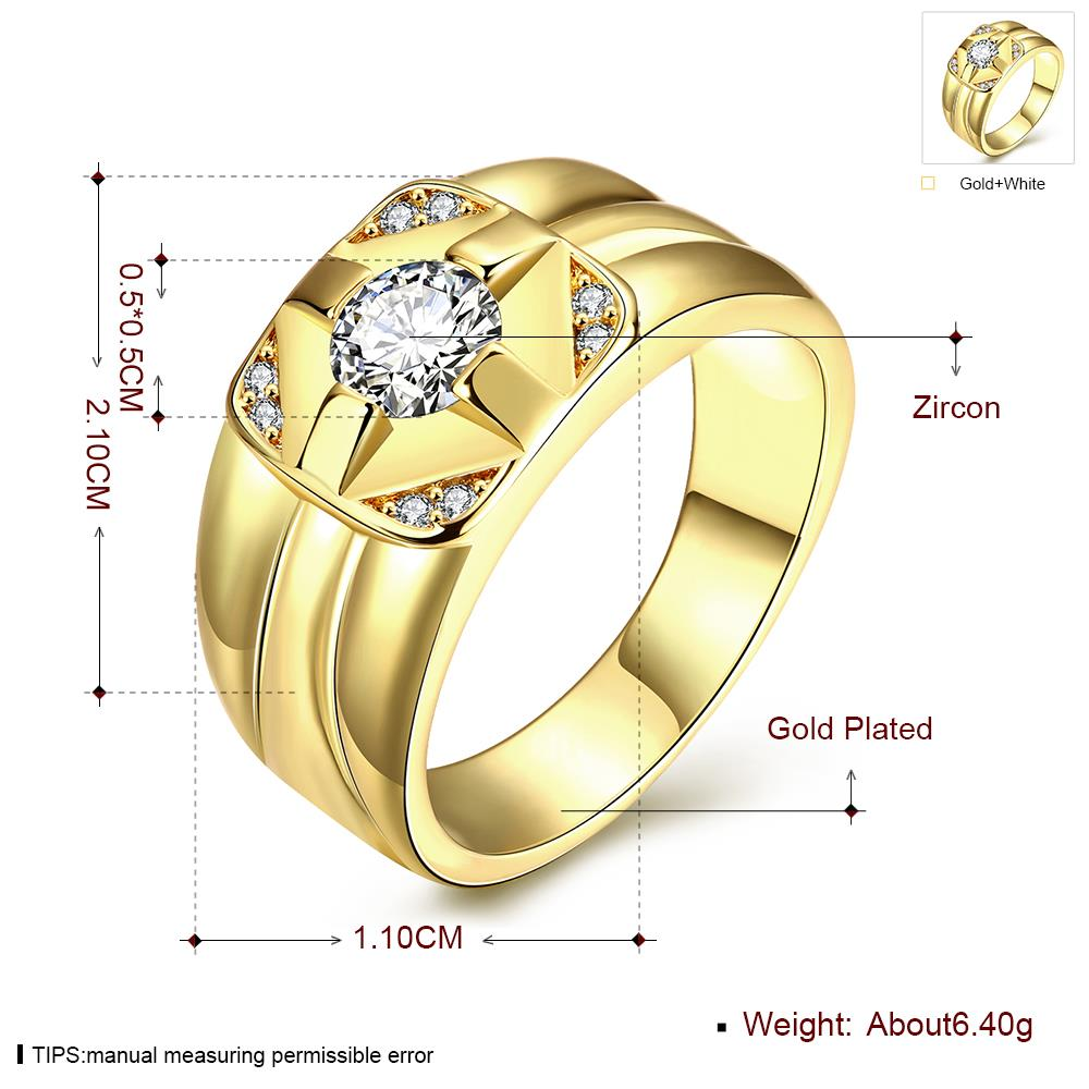 Wholesale Classic 24K Gold Geometric White CZ Ring TGGPR423 4
