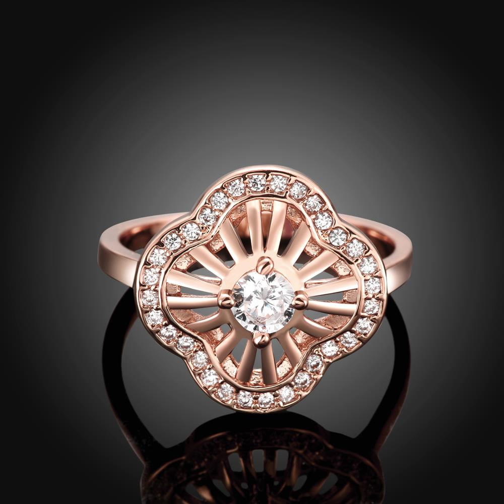 Wholesale Classic Rose Gold Plant White CZ Ring TGGPR435 0