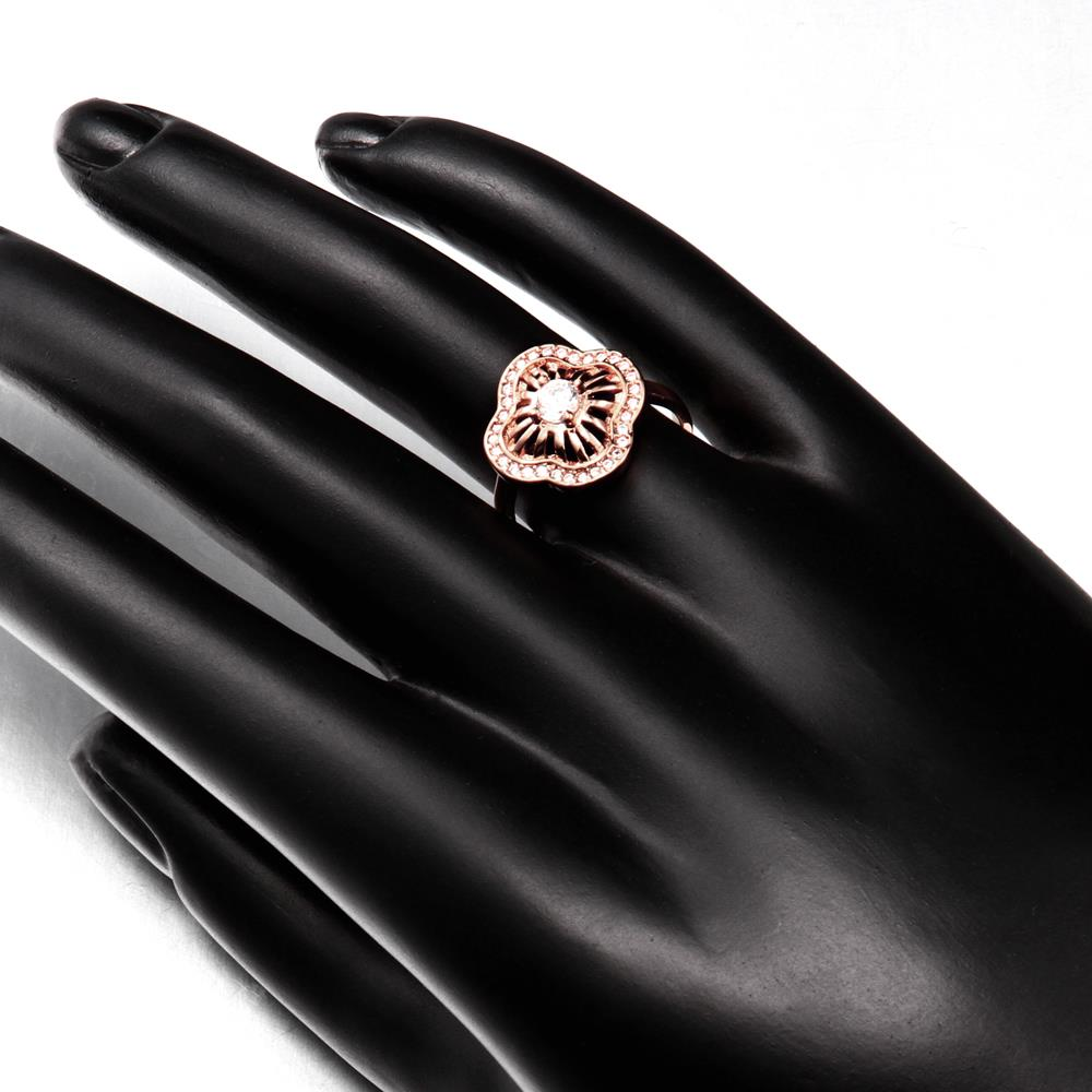 Wholesale Classic Rose Gold Plant White CZ Ring TGGPR435 1