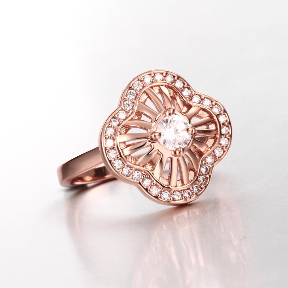 Wholesale Classic Rose Gold Plant White CZ Ring TGGPR435 2