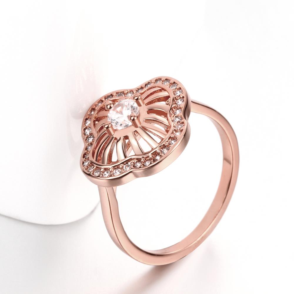 Wholesale Classic Rose Gold Plant White CZ Ring TGGPR435 3