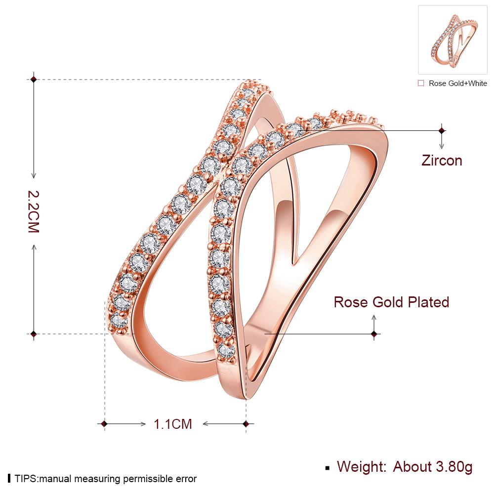 Wholesale Classic Rose Gold Geometric White CZ Ring TGGPR511 0