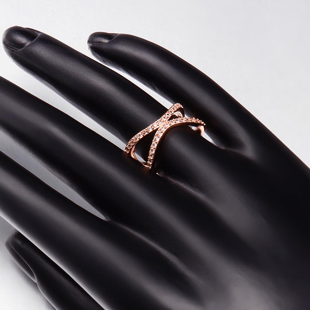 Wholesale Classic Rose Gold Geometric White CZ Ring TGGPR511 1
