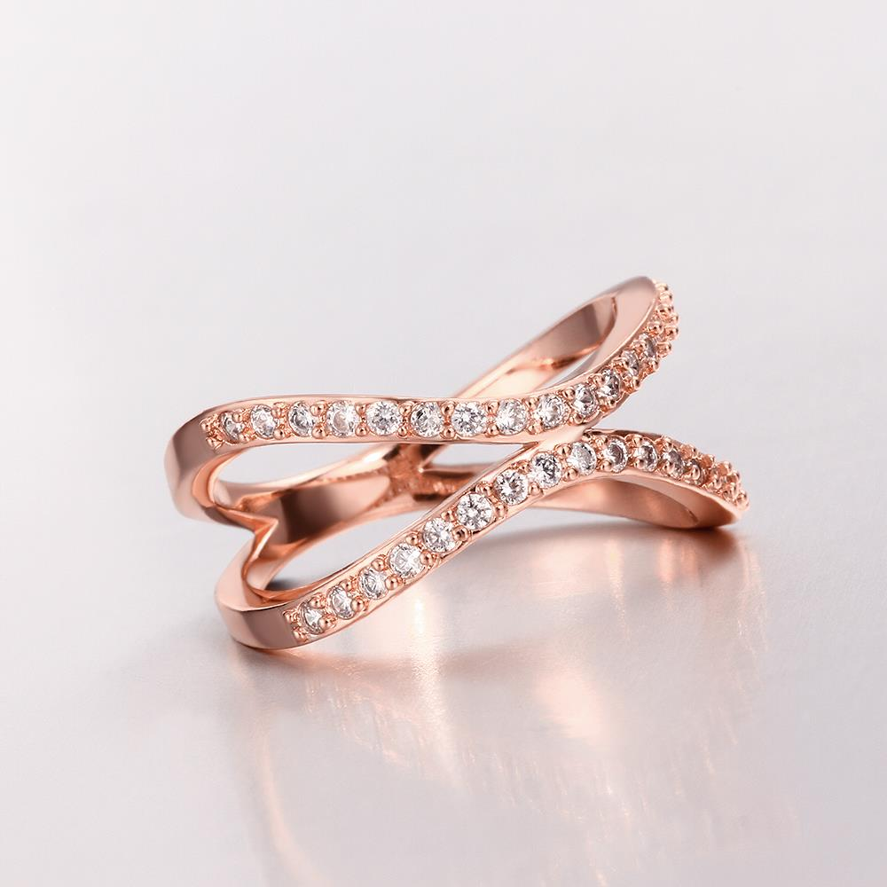 Wholesale Classic Rose Gold Geometric White CZ Ring TGGPR511 2