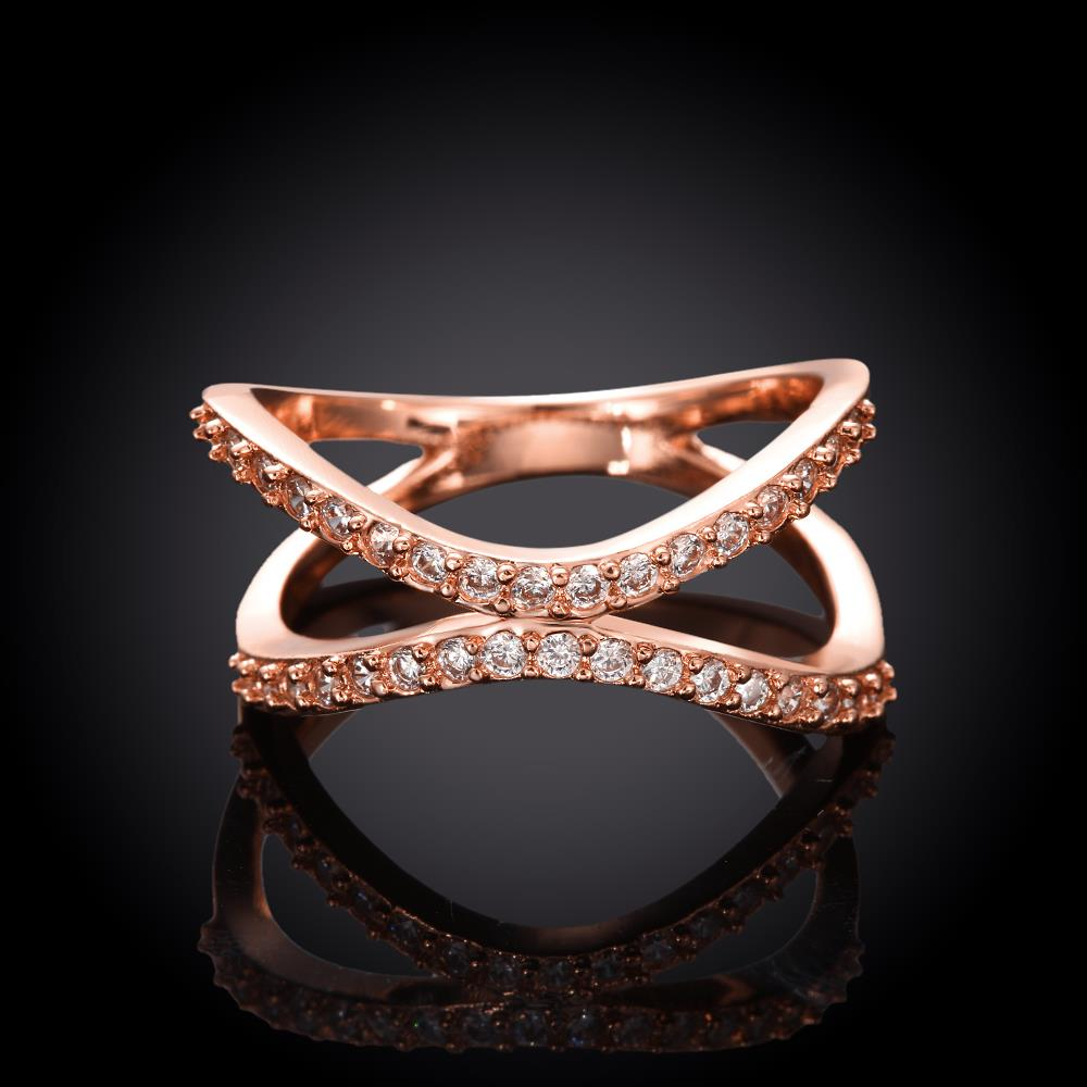 Wholesale Classic Rose Gold Geometric White CZ Ring TGGPR511 3