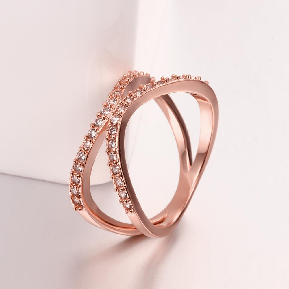 Wholesale Classic Rose Gold Geometric White CZ Ring TGGPR511 4