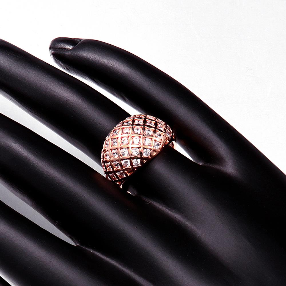 Wholesale Classic Rose Gold Geometric White CZ Ring TGGPR550 0