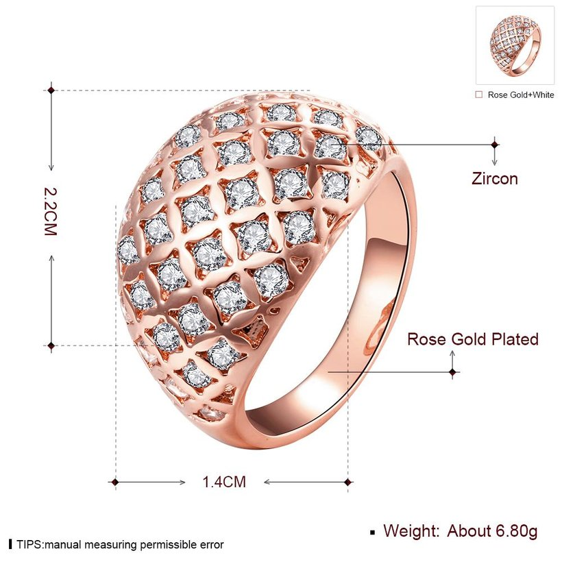 Wholesale Classic Rose Gold Geometric White CZ Ring TGGPR550 1