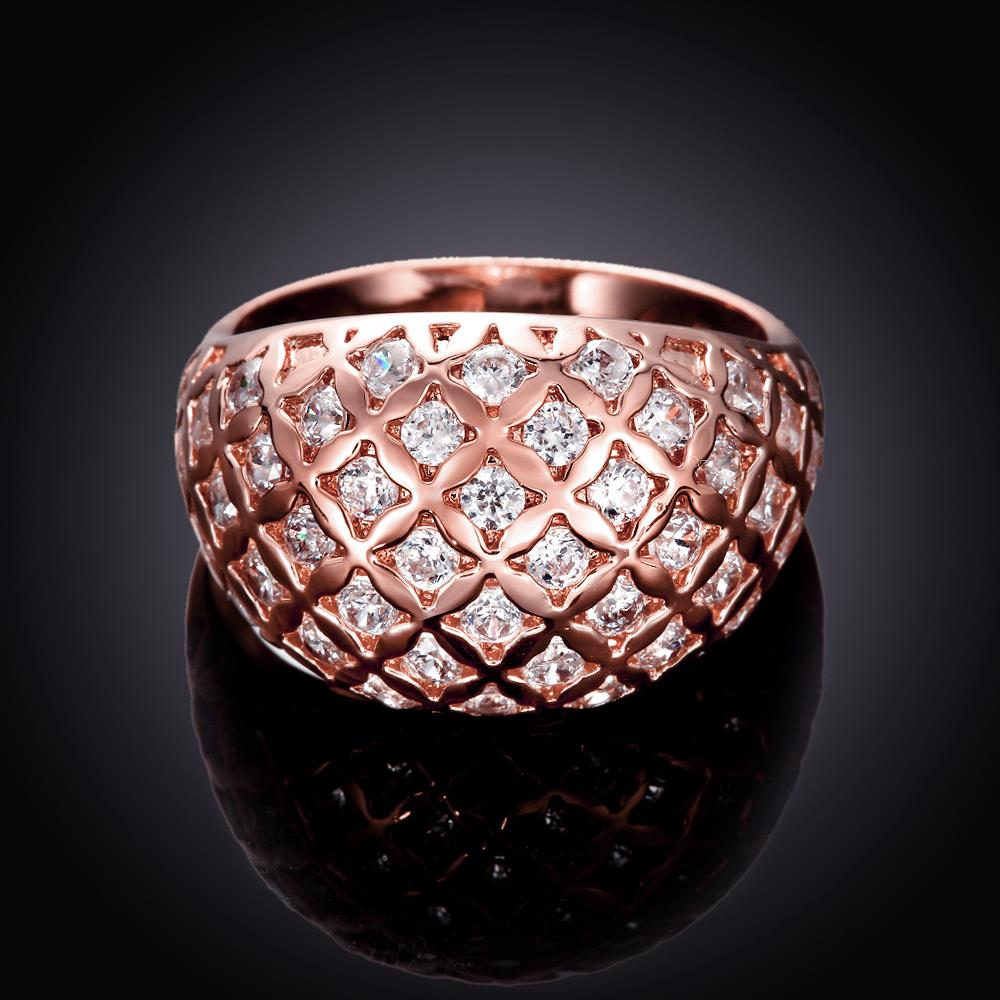 Wholesale Classic Rose Gold Geometric White CZ Ring TGGPR550 2