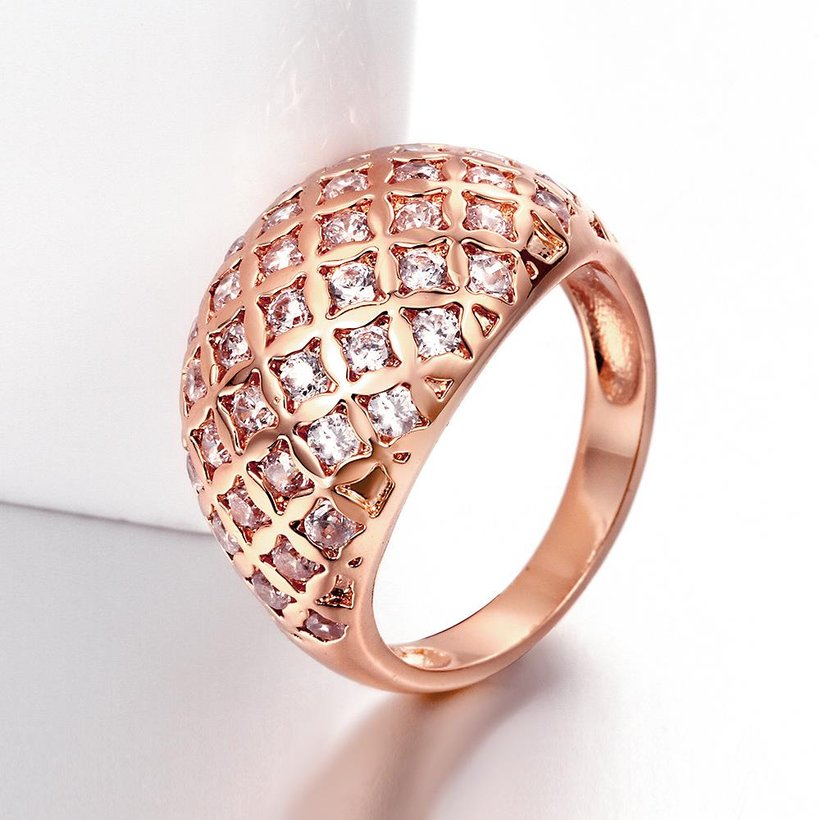 Wholesale Classic Rose Gold Geometric White CZ Ring TGGPR550 3