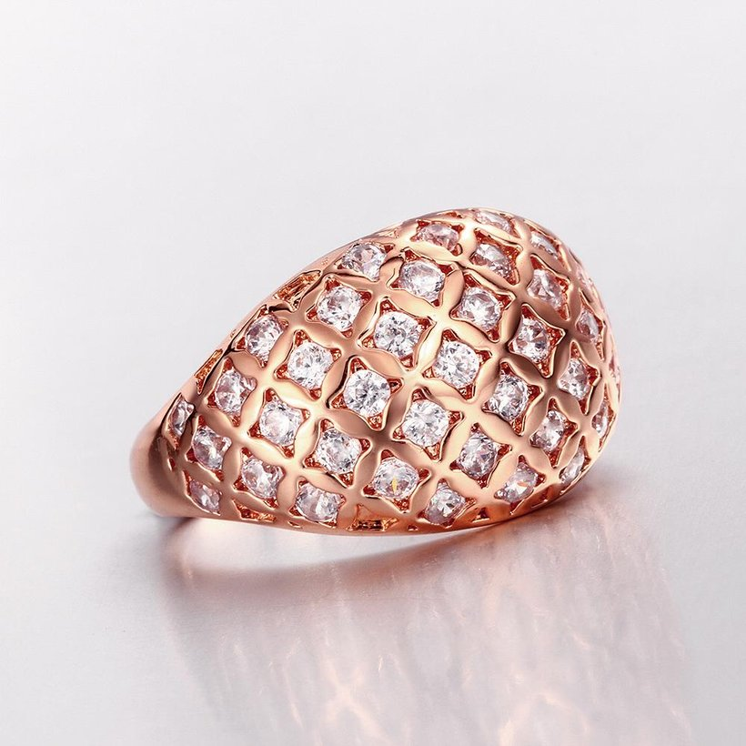 Wholesale Classic Rose Gold Geometric White CZ Ring TGGPR550 4