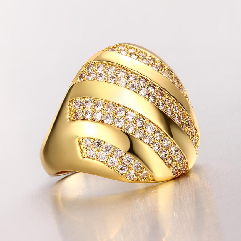 Wholesale Classic 24K Gold Water Drop White CZ Ring TGGPR554 1