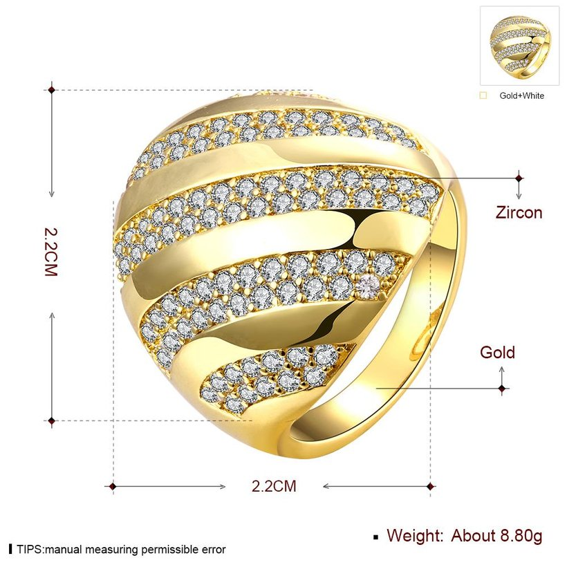 Wholesale Classic 24K Gold Water Drop White CZ Ring TGGPR554 2
