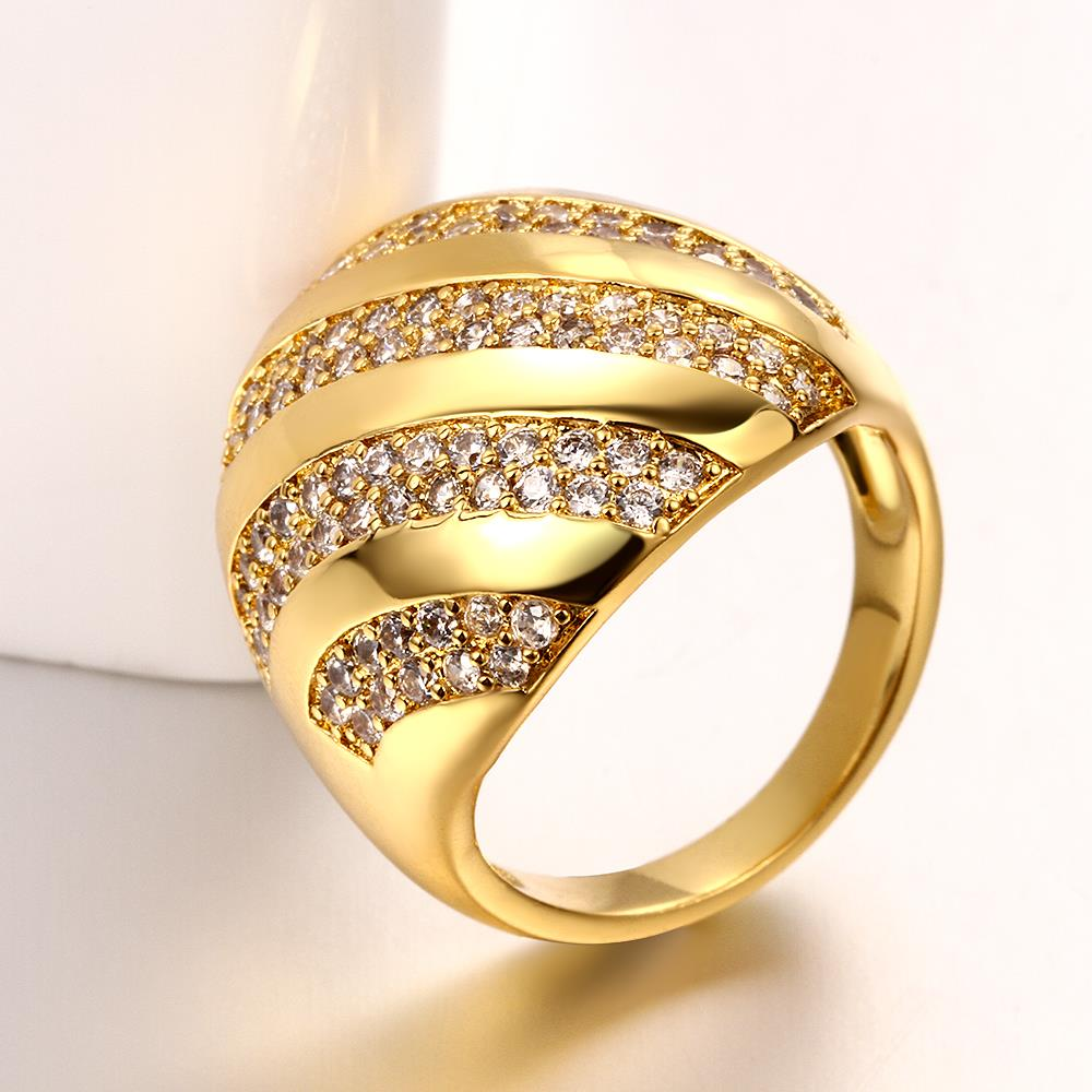 Wholesale Classic 24K Gold Water Drop White CZ Ring TGGPR554 4