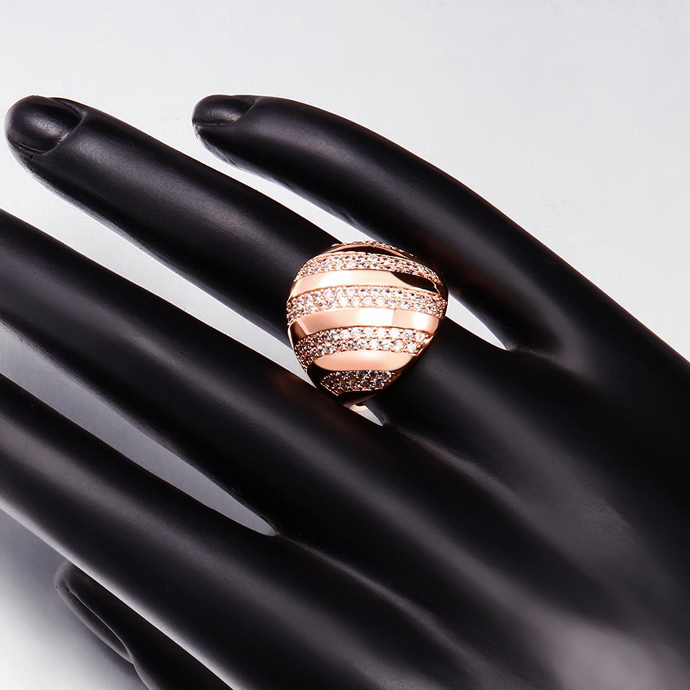 Wholesale Classic Rose Gold Round White CZ Ring TGGPR558 0