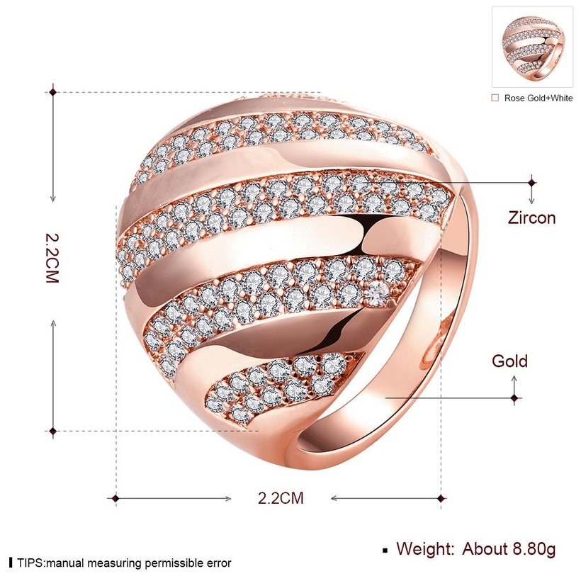 Wholesale Classic Rose Gold Round White CZ Ring TGGPR558 1