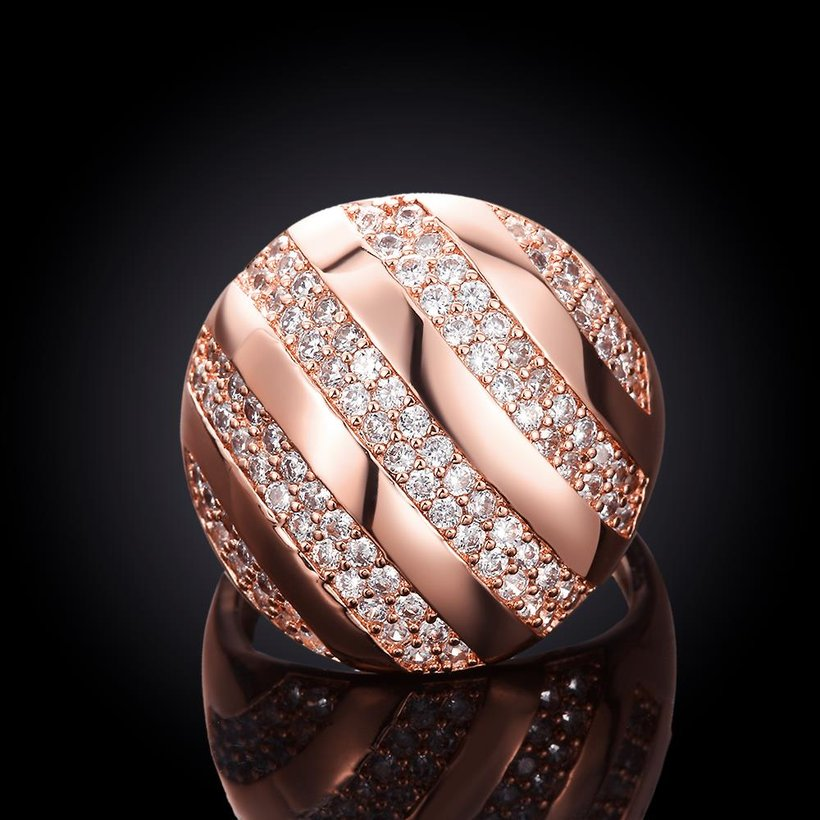 Wholesale Classic Rose Gold Round White CZ Ring TGGPR558 2